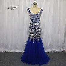 Robe de soiree longue 2018 sexy azul real formal vestidos de festa de noite cristais boné manga sereia vestidos de baile longo tule boda