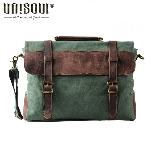 UNISOUL Canvas Men Handbags Vintage Totes Satchels Bags England Style Crossbody bag of male 2016 new Patchwork messenger bags