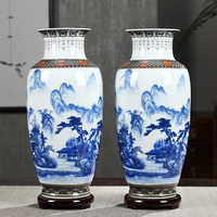 Antique Jingdezhen Ceramic Large Size Vase Set LandscapeClassical Chinese Traditional Handmade Vase Flower Vases Porcelain Vase