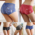 2016 High quality women's cute briefs underwear Simulation of jeans 3D printing blue red black Seamless panties for women