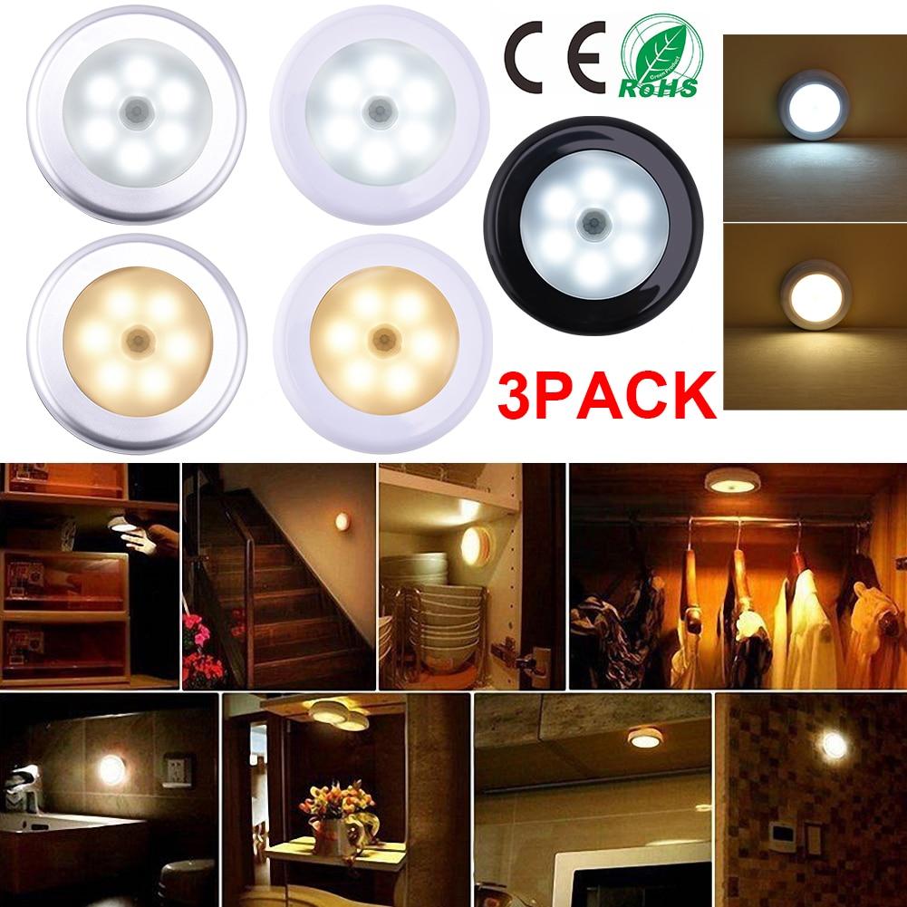 3 PACK DC4.5V PIR Motion Sensor LED Light Round Wall Lamp for Cupboard Wardrobe