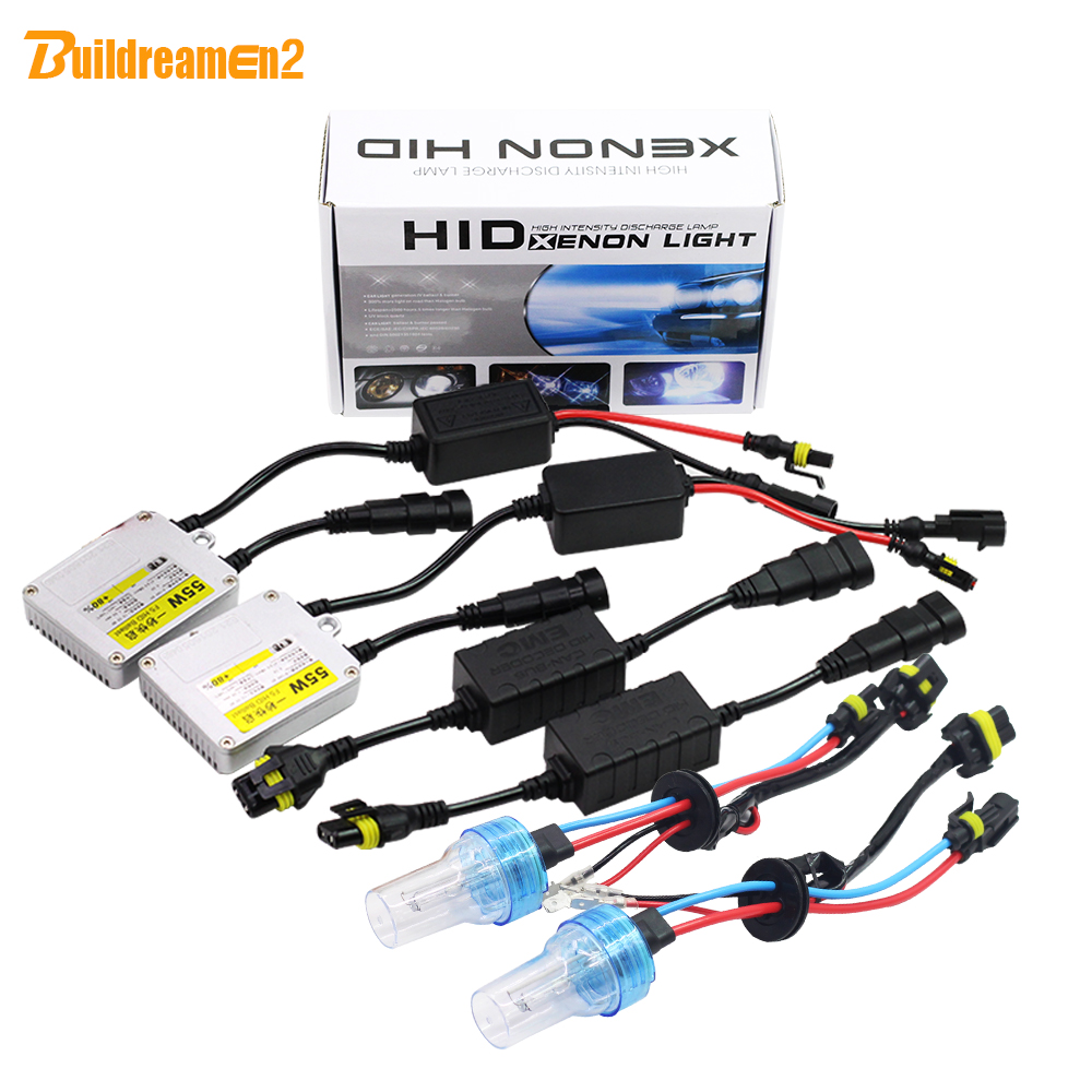 Buildreamen2 H7 55W HID Xenon Kit 3000K 4300K 6000K 8000K AC Ballast Bulb Canbus Adapter Anti Flicker Error Car Light Headlight buildreamen2 9006 hb4 55w no error hid xenon kit 3000k 8000k ac ballast bulb canbus decoder anti flicker car headlight fog light