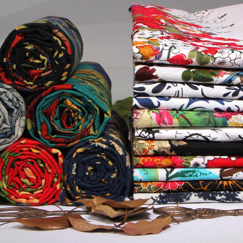 1 meter boho floral cotton printed linen cloth ethnic upholstery fabric vintage curtains textile - Tissu ameublement vintage ...