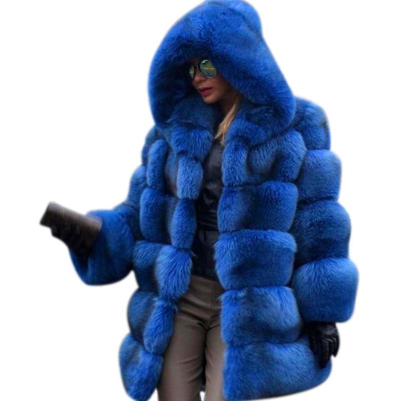 FURSARCAR Fashion Luxury Real Fur Coat Women 80 CM Long Natural Fox Fur Jacket With Big Fur Hood Full Sleeve Winter Thick Fur