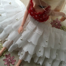 11cm Wide White Three-layer Chiffon Beads Fine Lace Pleated Swing Cuffs Doll Skirt Wedding Dress DIY Accessories Glitter Dantel