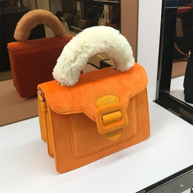 17 Christmas limited velvet suede handbag Samantha Vega plush handle organ shoulder bag Retro small flap square Messenger bag 19
