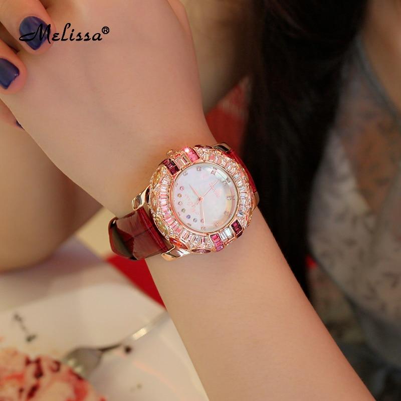 Роскошные Melissa леди женские наручные часы со стразами Кристалл Мода часов платье браслет оболочки Lucky Seven девушка подарок на день рождения - 5
