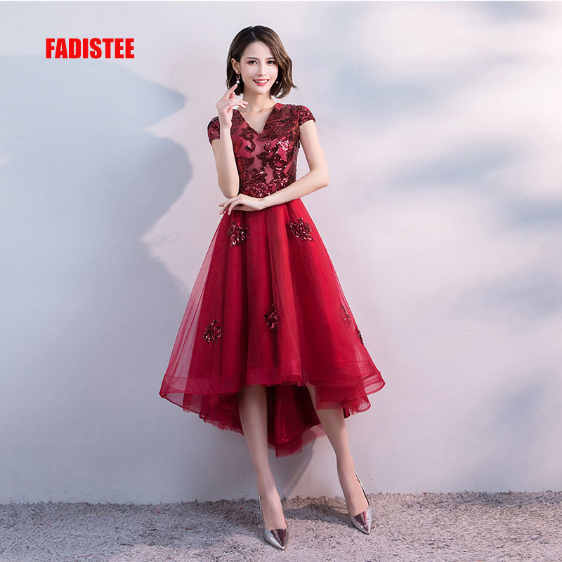 FADISTEE Hot sale short dresses high-low back cocktail party zipper simple style satin sequin Burgundy prom dress style 1