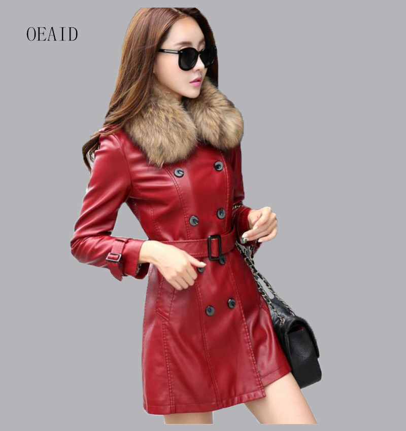 Real Raccoon Fur Leather Coat Women Leather Jacket  Long Slim Ladies Jackets Coats Outerwear Women's Leather Clothing Black