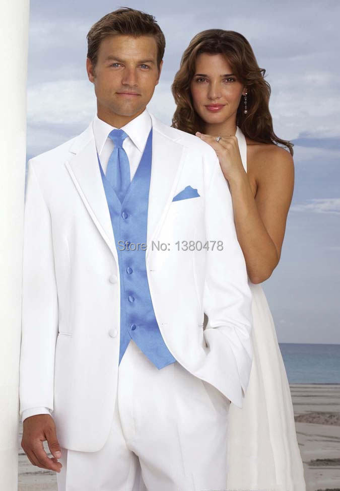 Nice Suit White Two buttons Notch Lapel Groom Tuxedos Groomsmen ...