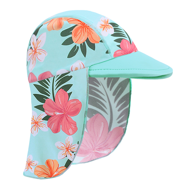 BAOHULU Print Baby Swimming Cap Children Neck Sun Protection Beach Swim Hats  Waterproof for Boys Girls Kids Outdoor Sports Hat 40cd0427920