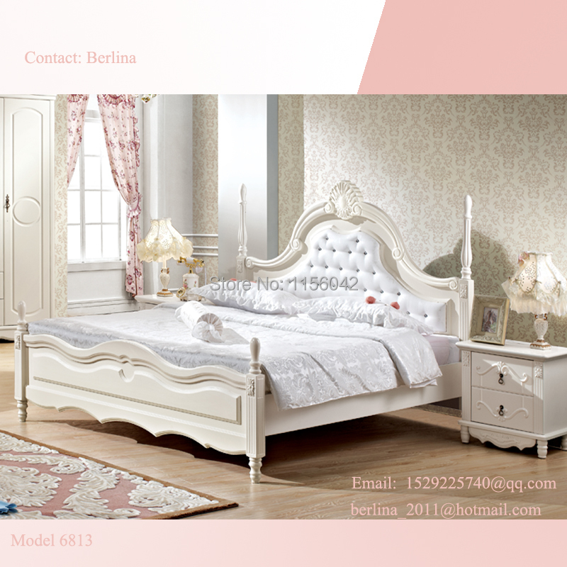 High Quality MDF Girls White Wood Elegant Beds Queen Size