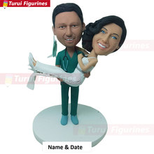 Surgical Nurse Personalized Wedding Cake Topper Doctor Bobble Head Groom Holding Bride Docto