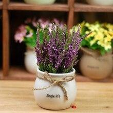 1Set Rural Potted Lavender Plant Artificial Flowers Bonsai Ceramics flowerpot Wedding Home Decorative Floristry