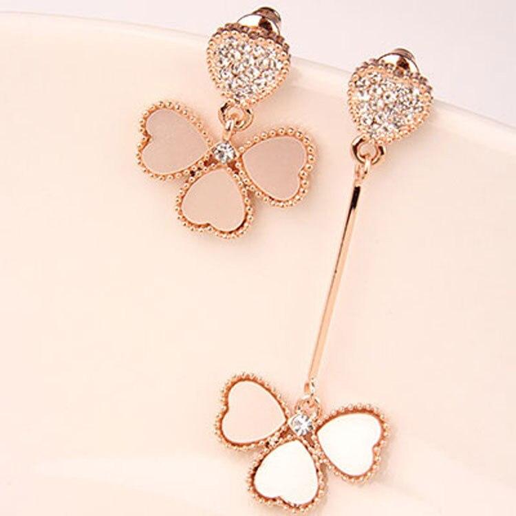 Korean Asymmetric Design Fashion Clover Ear Nails Long And Short Elegant Fresh Woman Earrings Wholesale