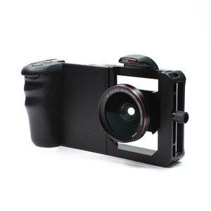 Wspólna klatka dla królika Smartphone stabilizator kamery zestaw wideo filmowanie klatka + obiektyw do telefonu iPhone Xiaomi estabilizador de camera