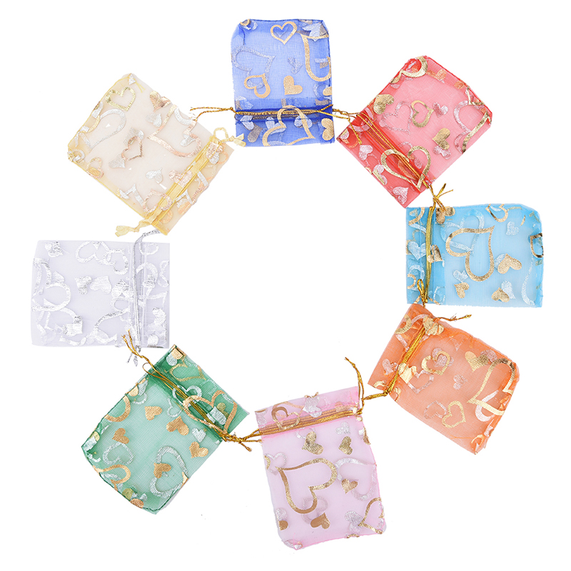 100pcs/lot Mixed Color Drawstring Bags Organza Gifts Bags Christmas Candy Bags Packaging Pouch Wholesale