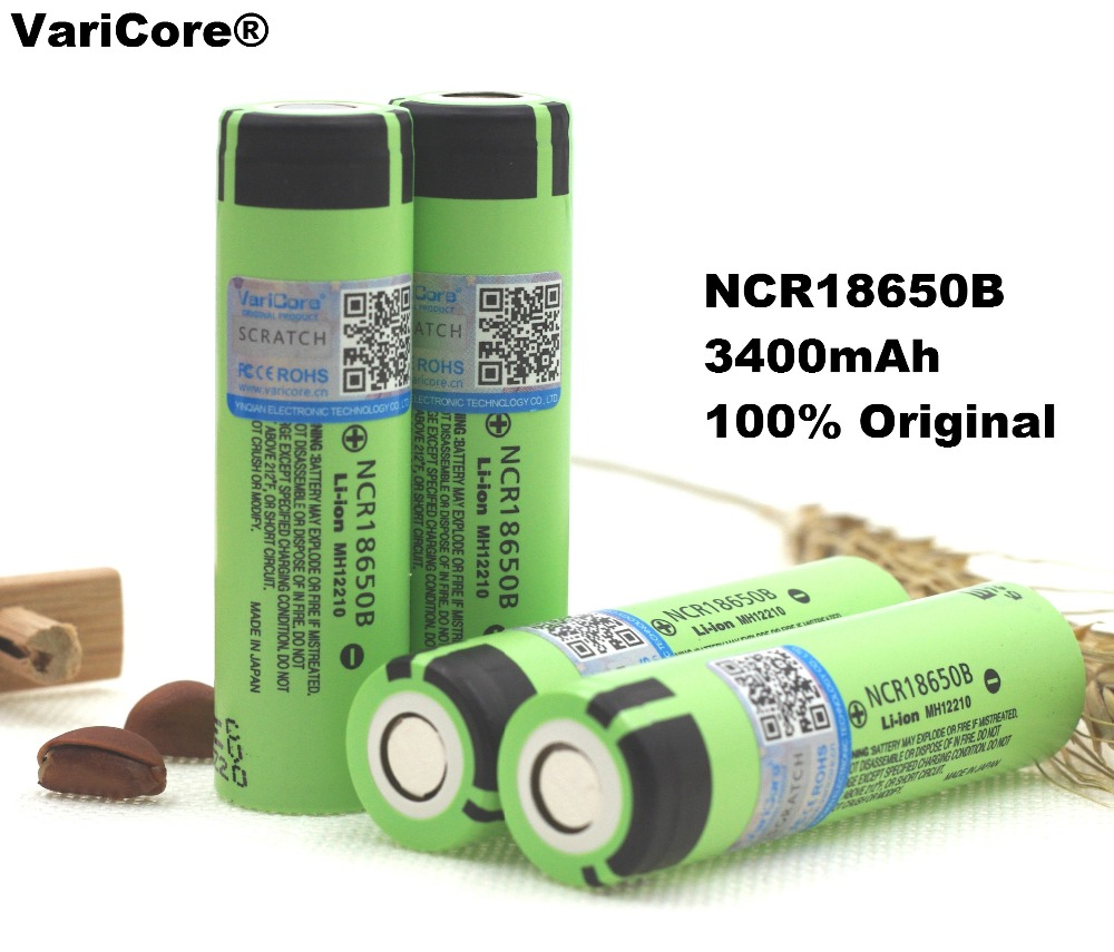 VariCore New Original 18650 NCR18650B Rechargeable Li-ion battery 3.7V 3400mAh For Panasonic Flashlight use + Free shipping panasonic ncr18650bf super max 3 7v 3400mah rechargeable 18650 li ion battery red