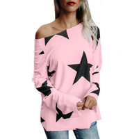Fashion Women Autumn Start Print Crew Neck Long Sleeve Loose Blouse Basic Pullover Shirts Casual Pink Party Top Blusas 2017