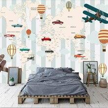Original cartoon world map background wall high-grade cloth manufacturers wholesale wallpaper mural photo