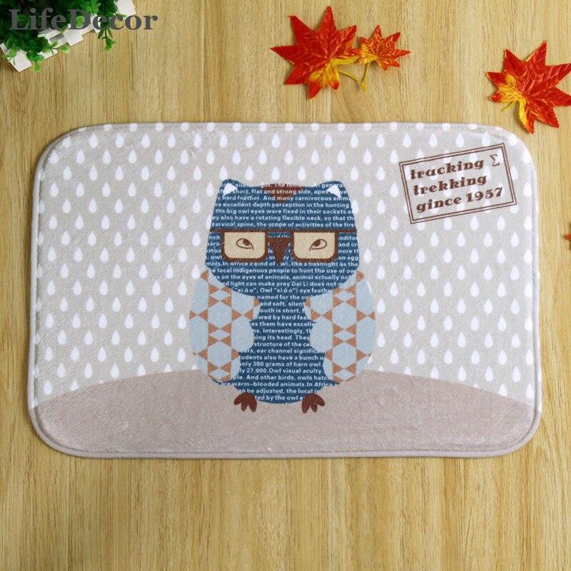 New 40x60cm Owl Eyes Bath Mat Non-slip Mats Quality coral velvet Rug Shower Carpet for Bathroom Kitchen
