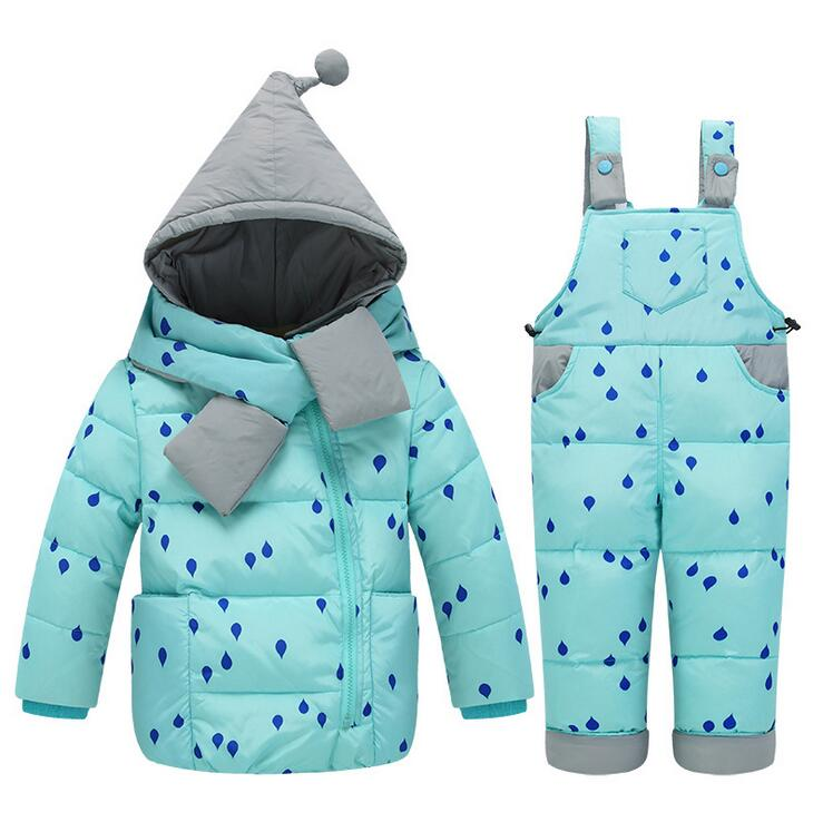 1-4Years Baby Girl Winter Clothes Set 2016 children kids Winter Down Sets Jacket +Pants Children Girl Wown Jacket Suit