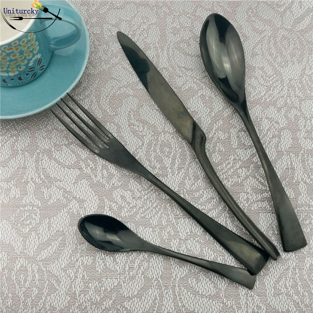 16Pcs/Lot European Dinnerware Black Cutlery Creative Dinner Set Stainless Steel Tableware Set Fork Steak Knives Teaspoon For 4-in Dinnerware Sets from Home & Garden    1
