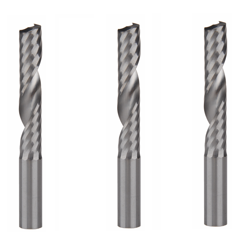3pcs 8mm x 42mm High Quality cnc bits single flute Spiral Router Carbide End Mill Cutter Tools