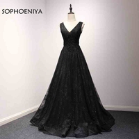 New Arrival V Neck Black Lace Evening Dress 2018 Ever Pretty Formal Dress Plus Size Party
