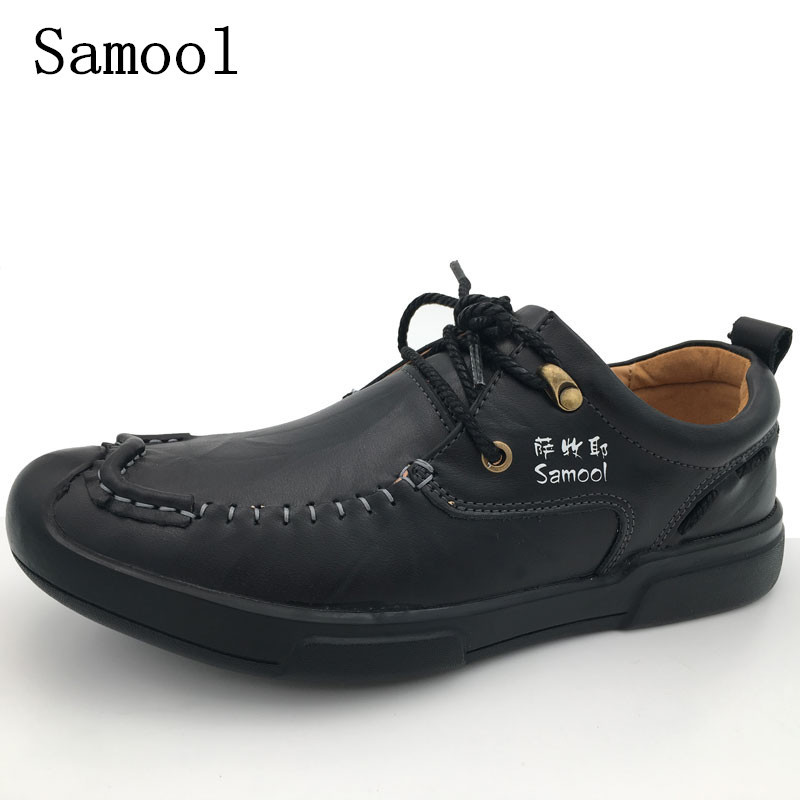 2017 Autumn Winter Mens Genuine Leather Men Casual Shoes Lace Up Formal Mens Loafers Men Comfortable Handmade Rubber Flat Shoes 2017 simple common projects breathable lace up handmade leather shoes casual leather shoes party shoes men winter shoes