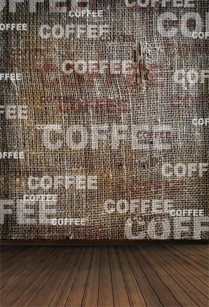 Laeacco Coffee Letters Mesh Wall Wooden Floor Photo Backgrounds Vinyl Digital Customized Photography Backdrops For Photo Studio