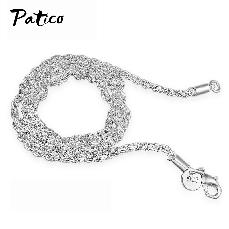 PATICO 1PC 3mm Width Pure 925 Silver Charm Rope Necklace Chas