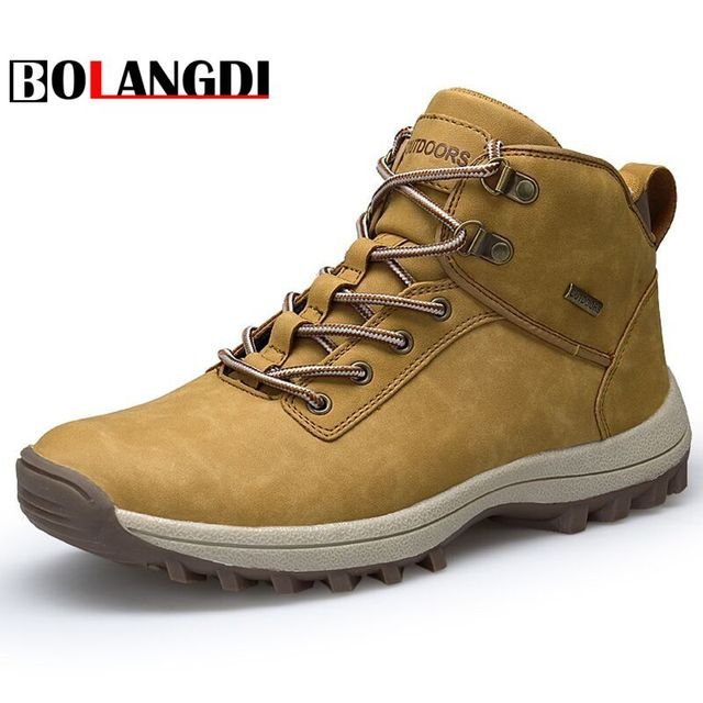 Bolangdi High Quality Men Hiking Shoes New Autumn Plush Winter Outdoor Mens Sport Trekking Mountain Man Climbing Athletic Shoes