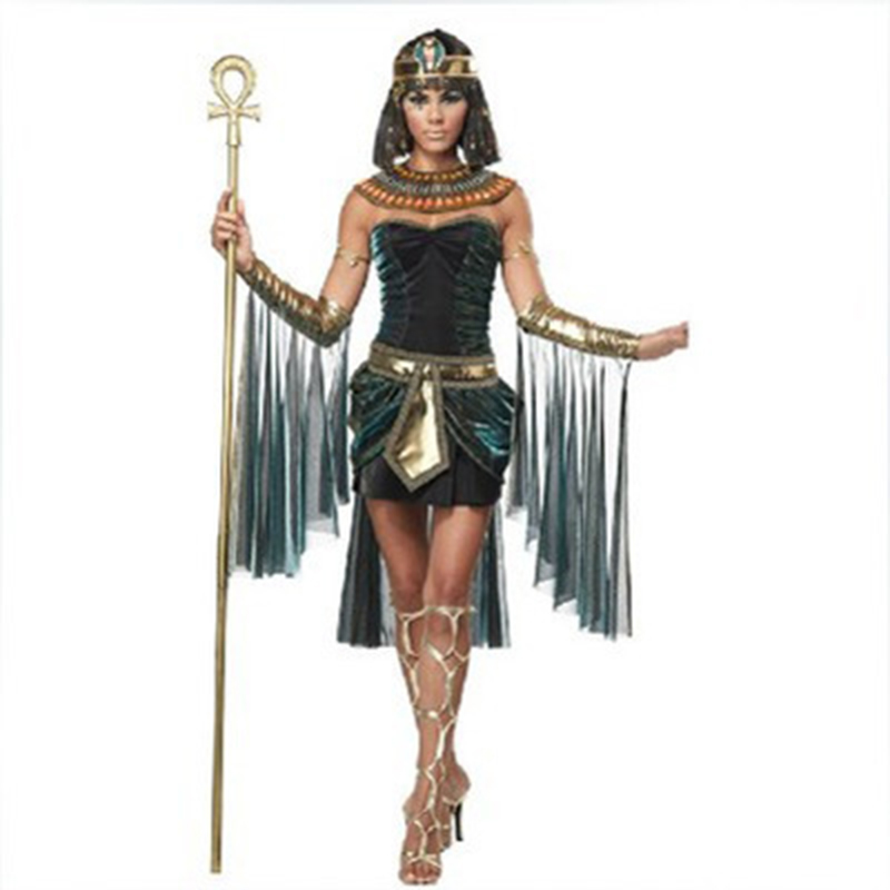 Medieval Egyptian Queen Costume Adult Women Cleopatra Princess Fantasia Cosplay Halloween Renaissance Queen Fancy Party Dress