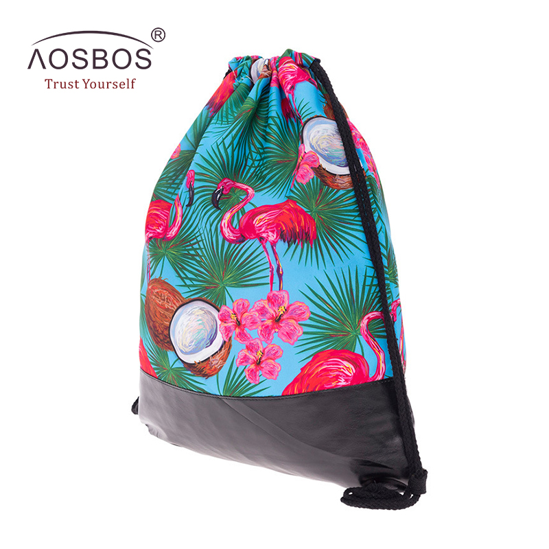 ca554cc90f Aosbos 3D Printed Flamingos Drawstring Backpack Sports Bag for Women  Fitness Gym Bag for Shoes Leather Bottom Drawstring Bags-in Gym Bags from  Sports ...