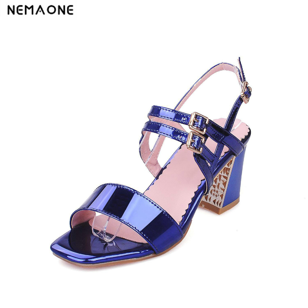 Summer Women Sandals Open Toe Womens Sandles Thick Heel Women Shoes Korean Style buckle summer Shoes large size34-43