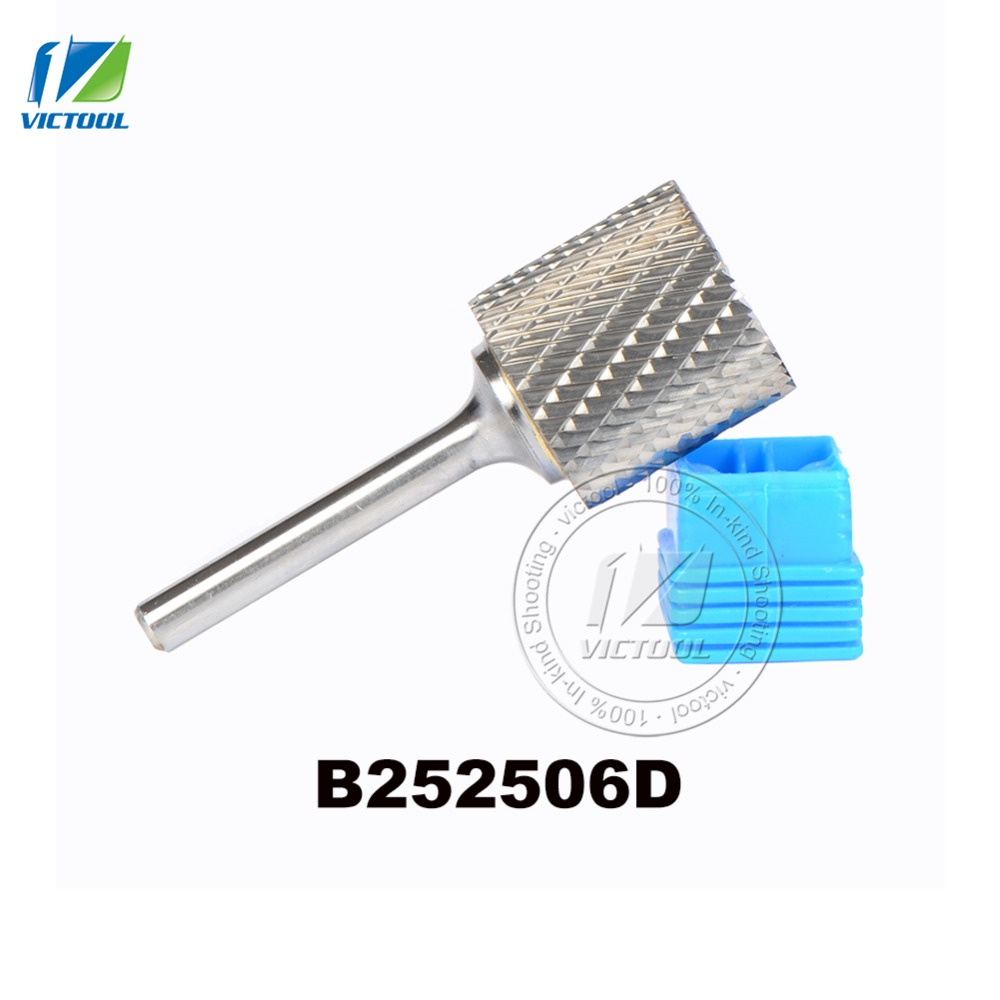цены 1pc B252506 cylinder with end cut 25*25mm carbide rotary burr file cutter grinding and abrasive tools milling bits