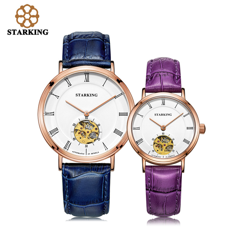 STARKING 2016 Mechanical Watch lovers Watches Men Women Dress Genuine Leather Wristwatches Fashion Casual Watch Clock AM/L0197 цена 2017