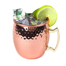 1pc 550ml 304 Stainless Steel Drum Type Beer Mug Hammered Copper Plated Cup Water Glass Drinkware