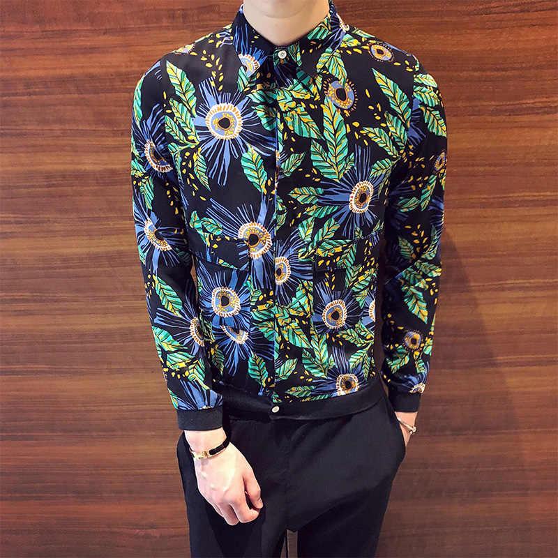 7e009024 Green Camisa Social Floral Printed Shirts Mens Casual Satin Shirts Flowers  Mens Designer Shirts Silk Men