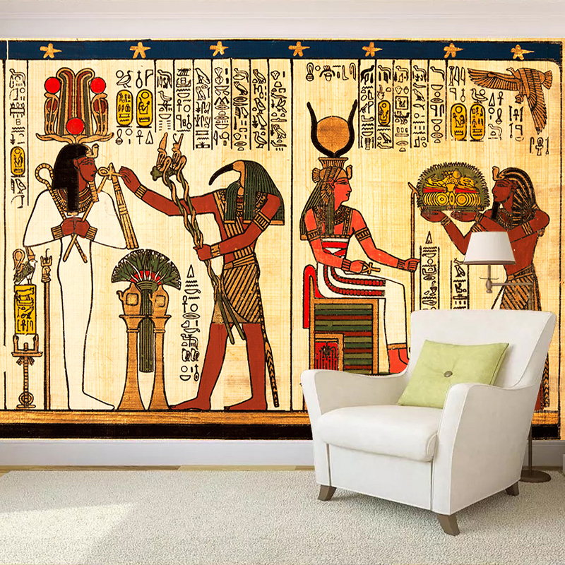 Retro 3D Wall Papers Leisure Bar Cafe KTV Shop Background Covering Large Mural <font><b>Egyptian</b></font> Vintage <font><b>Wallpaper</b></font> Papel Pintado De Pared image