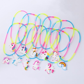 Rainbow Unicorn Pendant Rubber Necklaces Accessories