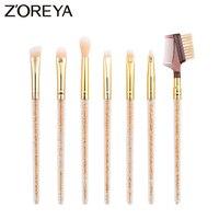 Zoreya Brand Hot Sales 7piece Lots Profession Eye Brow MakeUp Brushes Angled Shadow Make Up Brush