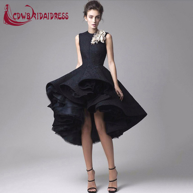eda98e3f55 Lovely Black Lace Tea-Length Cocktail Dresses With Flowers High Front Long  Back Tulle Lining Fashion Graduation Party Gowns