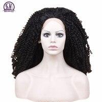 MSIWIGS Largo Negro Peluca Del Frente Del Cordón Lleno Rizado Negro Afroamericano Afro Pelucas Cosplay de Alta Temperatura de Fibra Sintética de Las Mujeres