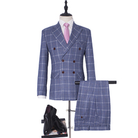 NA50 Plaid Suit Men Slim Fit Leisure Double Breasted Wedding Dress Suits for Men Terno Masculino Tuxedo Costume Homme Smokings