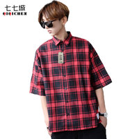 Summer New 2019 Red and Black Plaid Shirt Men Short Sleeve Dress Loose Casual Classic Male Checkered Shirt Chemise Homme M XL