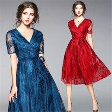 ФОТО pksaq 2018 spring and summer new fashion casual slim thin lace long dress