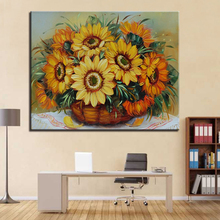 Frameless DIY Oil Painting Digital By Numbers Basket Sunflower Picture Modern Wall Artwork Home Decoration Living Room