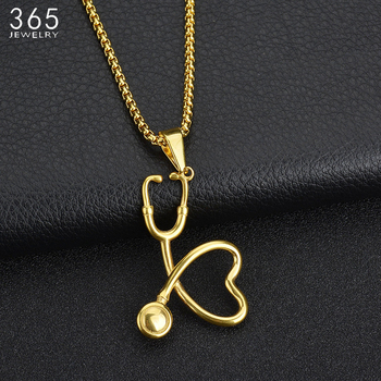 High Quality Gold Color Stainless Steel Stethoscope Pendant Necklace Heart Doctor Nurse Medical For Women Necklace